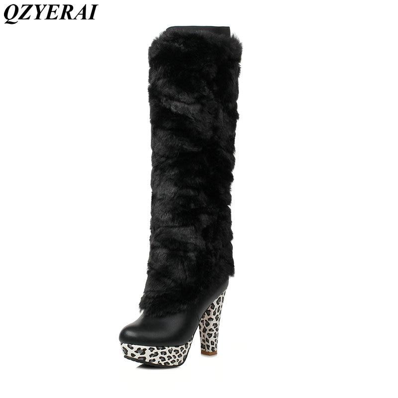 QZYERAI Winter ultra high heel removable print waterproof platform female boot to knee rabbit hair women shoes fashion trend худи print bar scary rabbit
