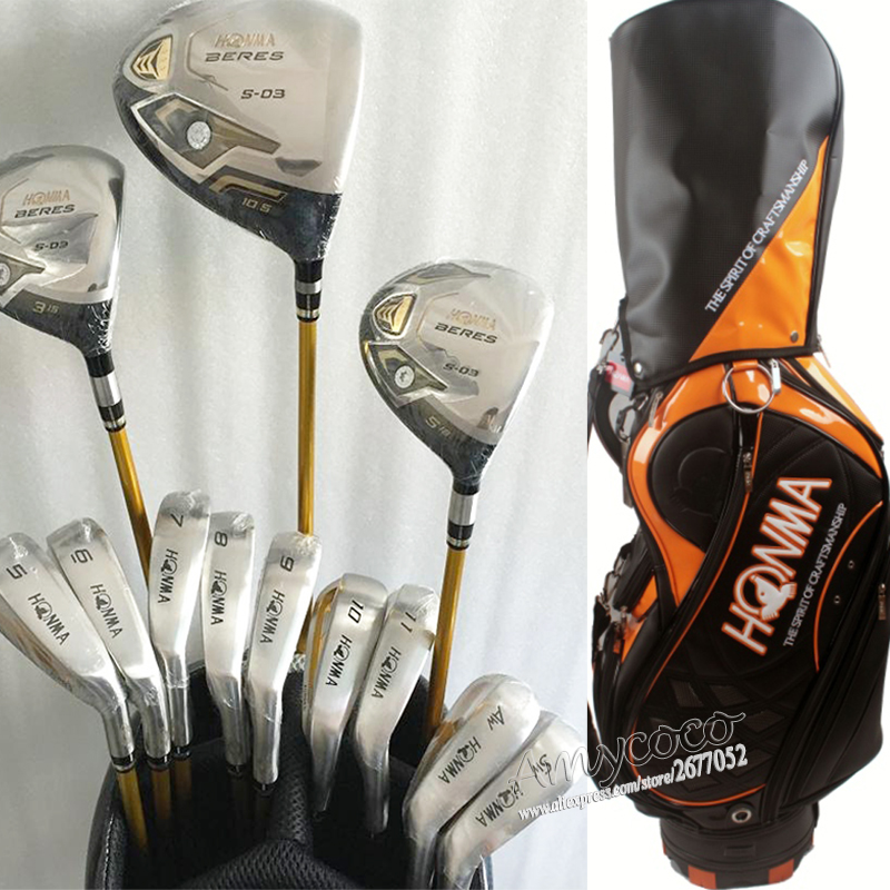 Подробнее о New mens complete clubs set Honma s-03 3 star Golf Clubs Drive+fairway wood+irons+putter Graphite shaft headcover Free shipping new mens golf clubs honma is 02 5 star irons clubs set 4 11 aw sw golf irons with graphite golf shaft free shipping