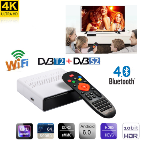 GTmedia GTS Android 6.0 4 K TV BOX Combo DVB-S2 récepteur Satellite 2 GB RAM 8 GB ROM Amlogic S905D BT4.0 décodeur intelligent