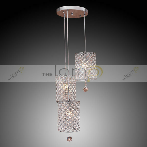 Free Shipping Contemporary Crystal Drop Pendant Light With 3 Lights For Living Room Bedroom