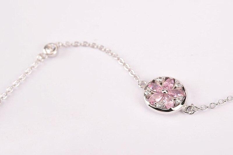 Silver Cherry Blossom Bracelet With Zircon Sakura Bangle Women 925 Sterling Jewelry 9