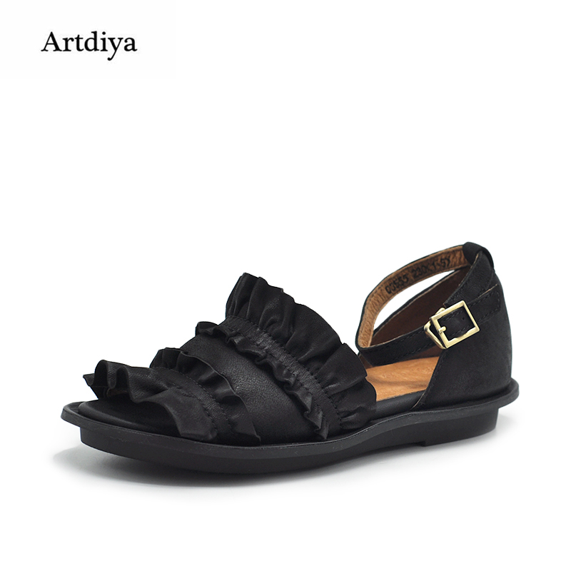 Artdiya Original New Women Sandals Comfortable Genuine Leather Handmade Buckle Flat Casual Ruffles Soft Shoes 03555 artmu original retro ruffles women sandals genuine leather comfortable soft flat handmade sandals 902 10
