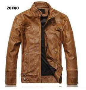 Image 1 - Мужская кожаная куртка ZOEQO, куртка из высококачественной кожи, мотоциклетная куртка