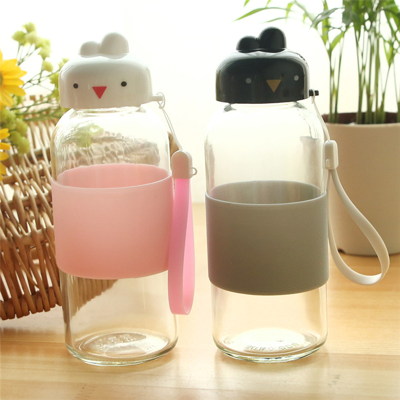 360ML Healthy Water Bottle Sport shaker Travel Hiking Glass Drinking Bottles Cute Cartoon Animal kettle Non-Slip Leakproof Gift