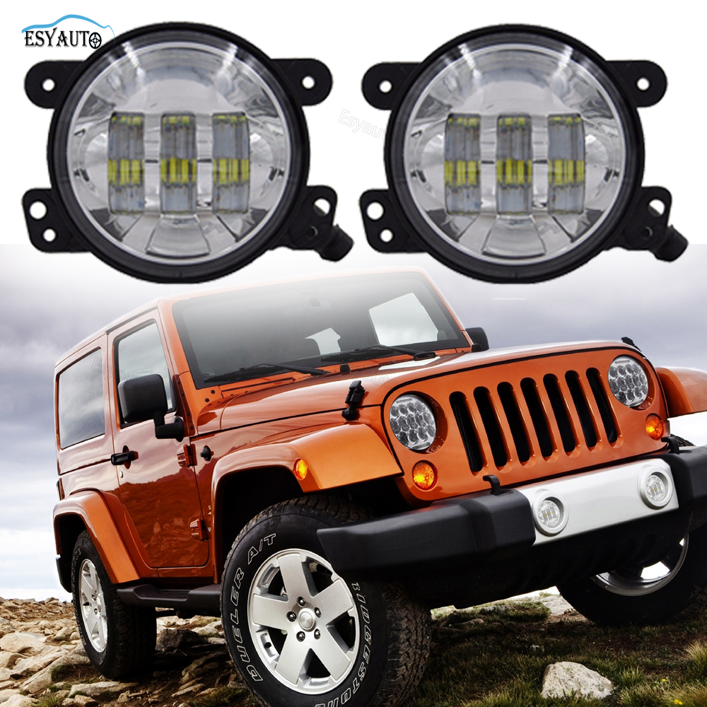 1 Pair 4 Inch 30W Front Bumper Led Auxiliary Fog Light LED Driving For Jeep Wrangler JK LJ for jeep wrangler jk anti rust hard steel front