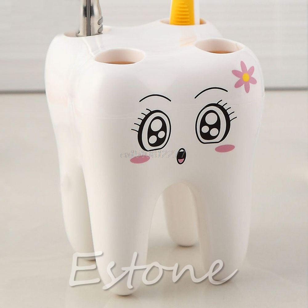 Lovely Cute 4 Holes Cartoon Tooth Style Design Kid Bathroom Toothbrush Holder #H0VH# ...