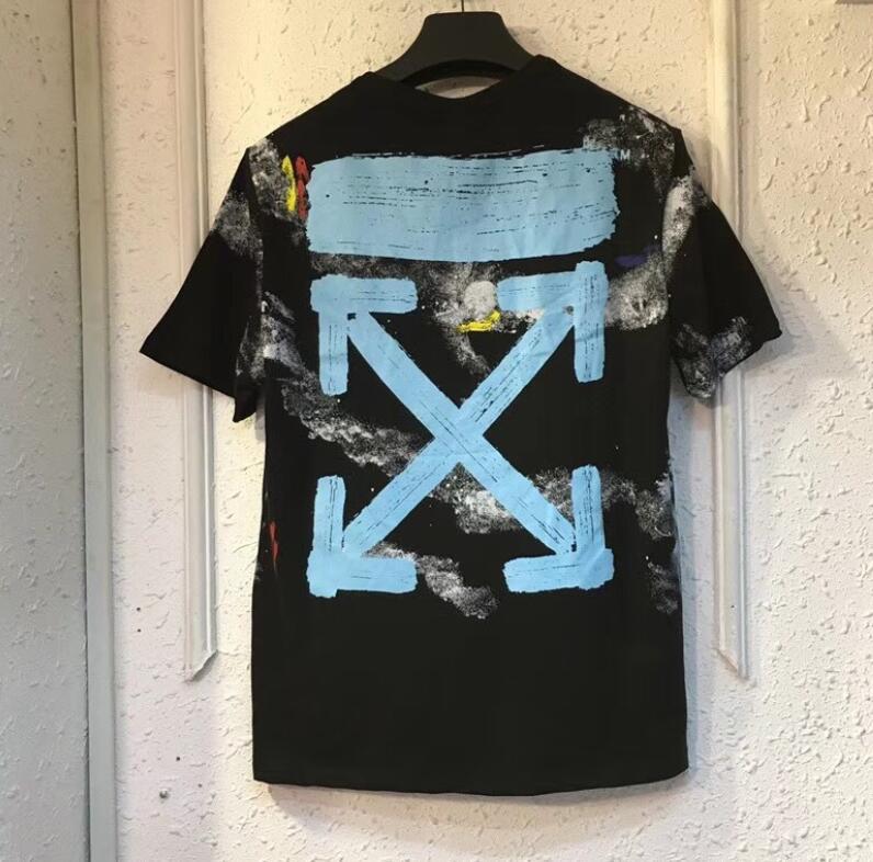 19ss blanc cassé Streetwear haute qualité zèbre ligne flèche à manches courtes S-XL grande taille coton T-shirt nébuleuse imprimé à manches courtes