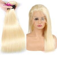 Ali Coco бразильские Прямые 2/3 пучков с 360 фронтальной шнуровкой 613 блонд человеческие волосы пучки с закрытием 8 30 дюймов remy Волосы
