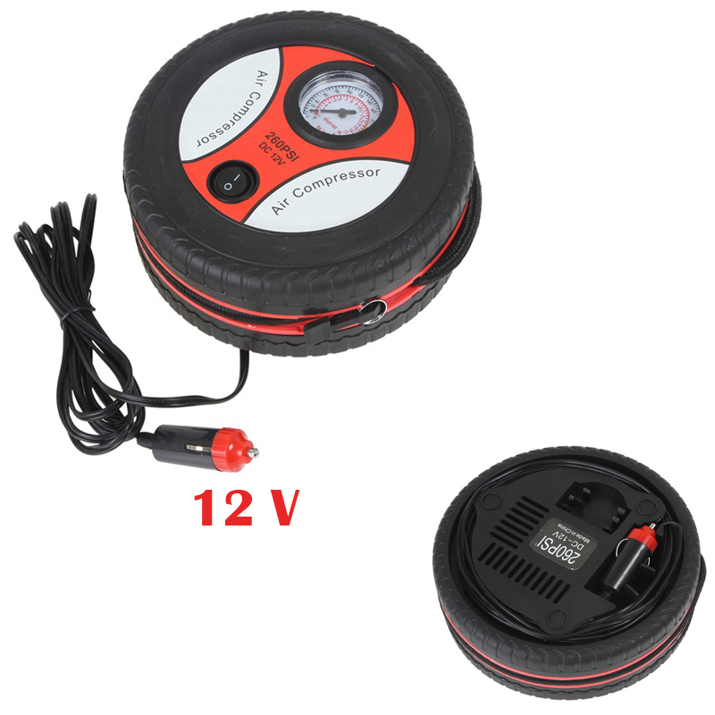Portable Automotive Tire Pump 12V Mini Air Pump Household Car Motorcycle Bike 260PSI Electric Air Compressor