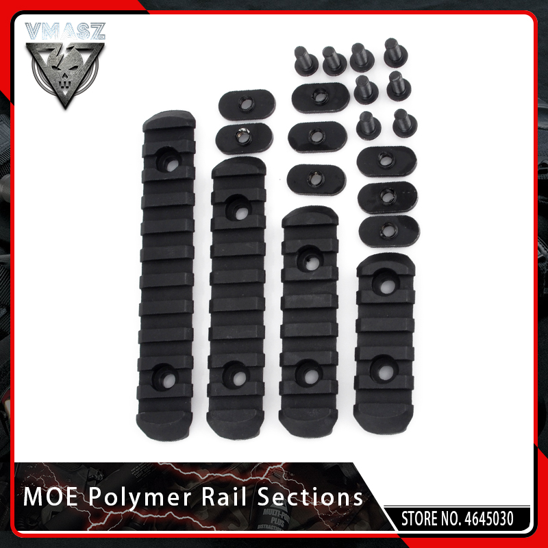 VMASZ 4PCS Tactical Airsoft Polymer Picatinny Rail For Shooting Paintball MOE Handguard Protection Laser Scope Hunting Accessory