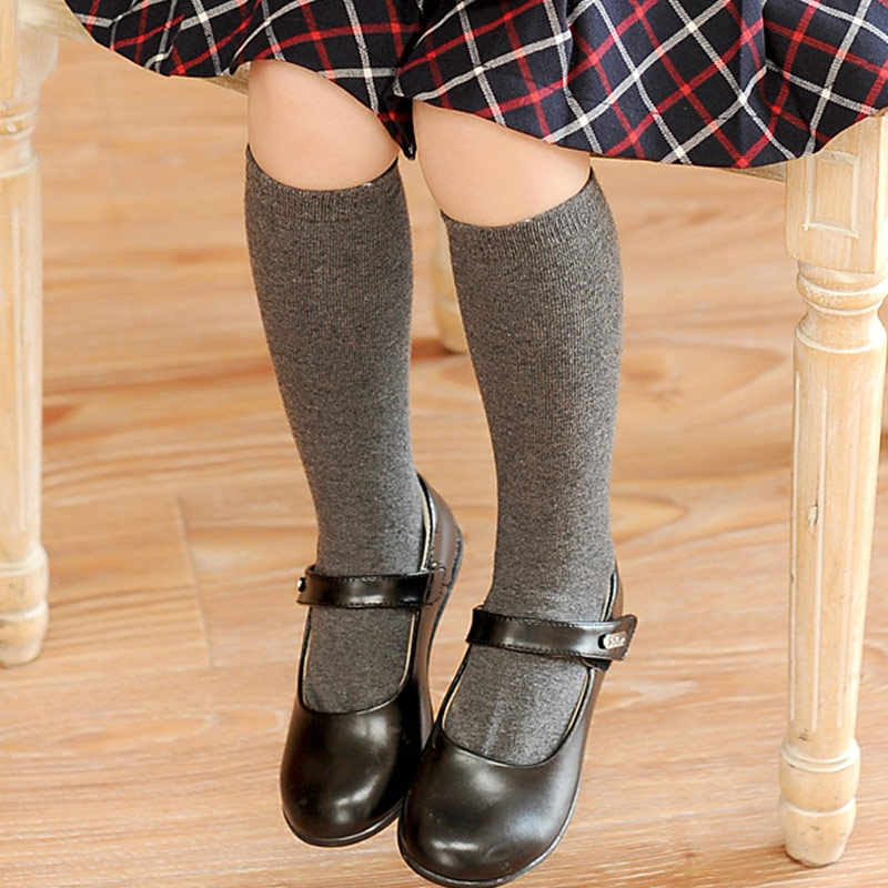 Cotton Knee High Socks For Kids Girl Cute Solid Color No Cartoon Long Socks Children Winter Boot Socks Striped Black Gray Color