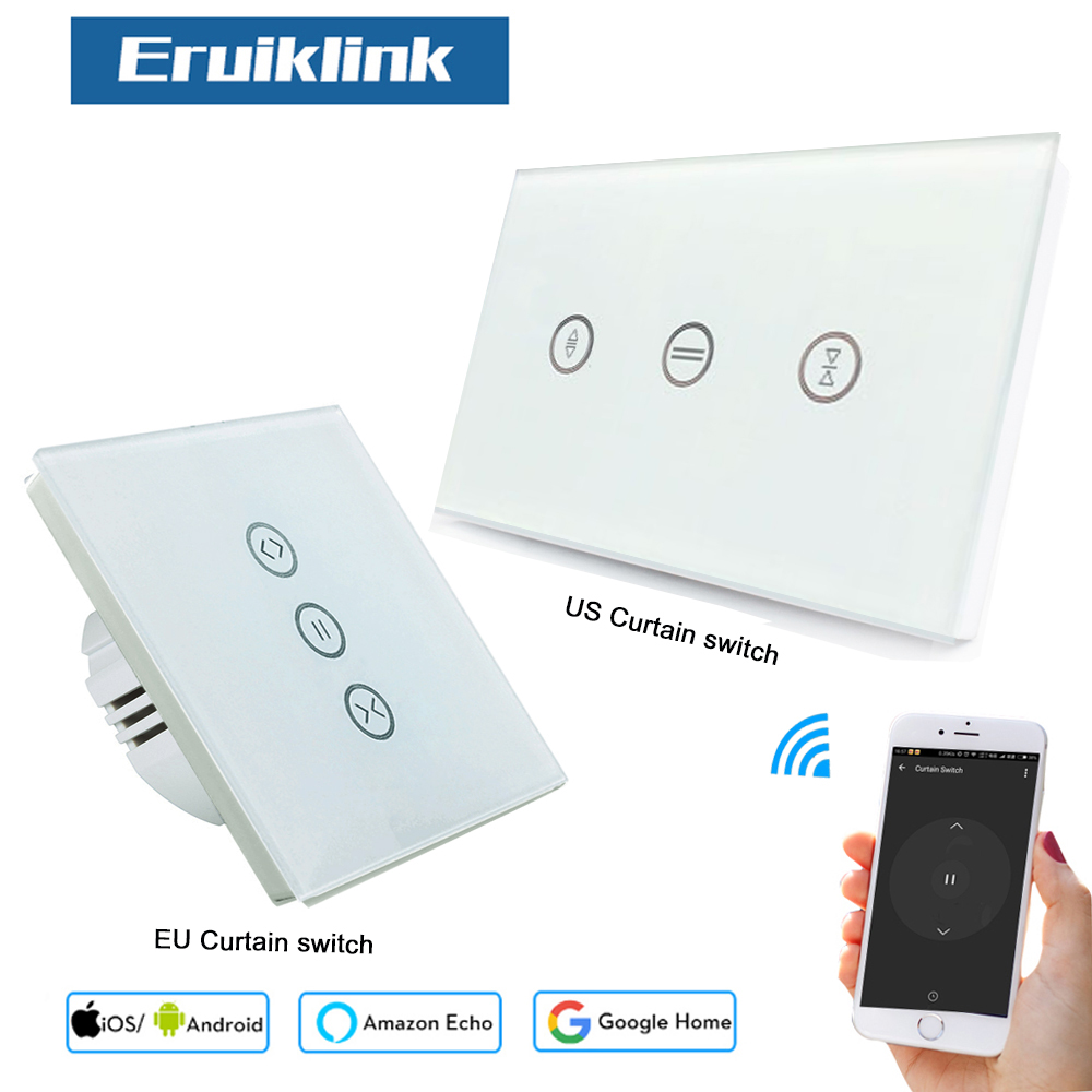 EU US Smart Wifi Curtain Switch, Glass Touch Panel App /WiFi /Voice/ Touch Control Wireless Smart Wall Switches For Smart Home