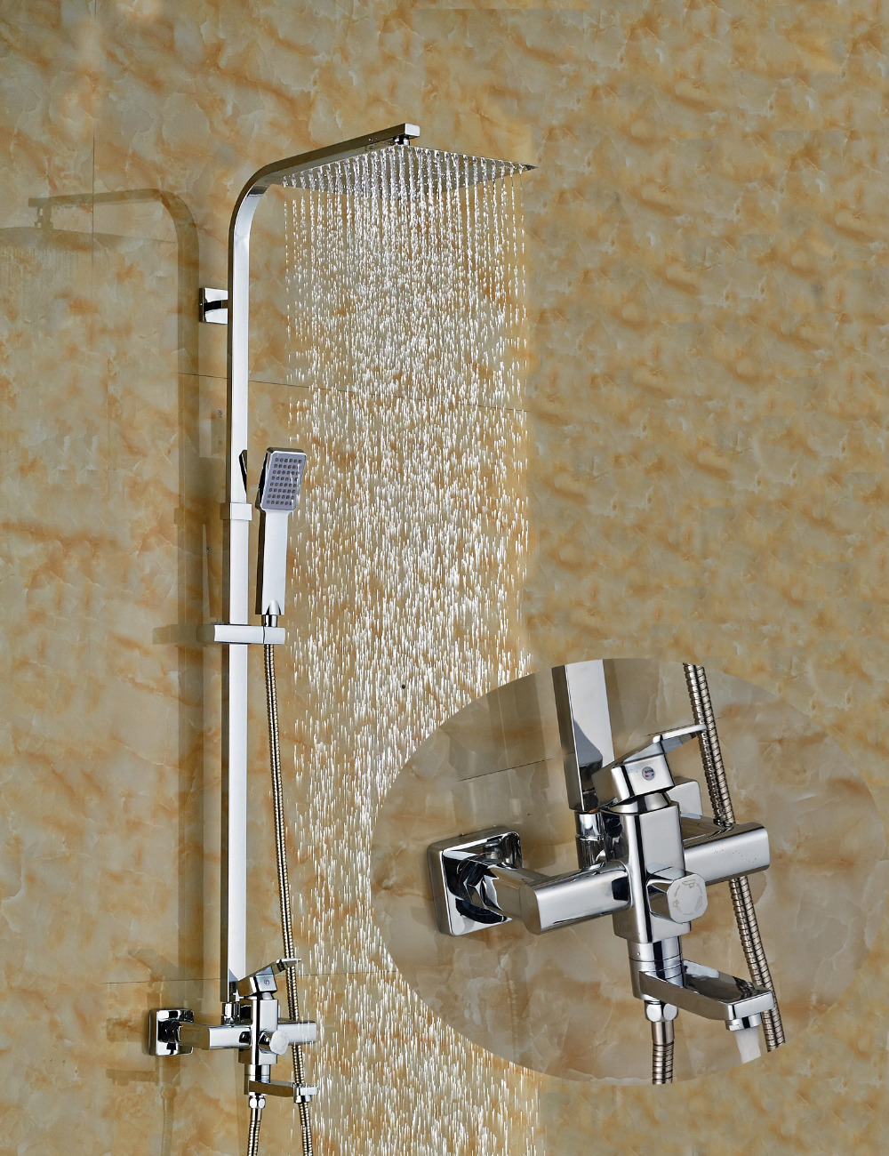 Wholesale And Retail Wall Mounted Bathroom Chrome Finish Rain Shower Head Faucet Tub Spout Hand Unit