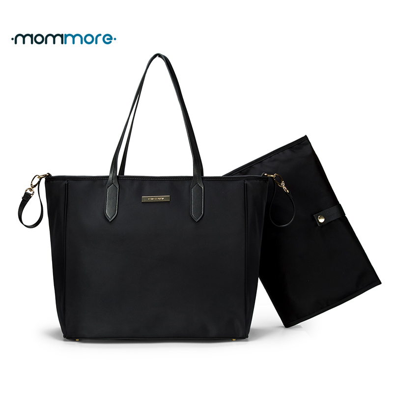 mommore Nylon Diaper Bag Large Totes Handbag with Changing Pad for Baby Black Nappy Bags Mother Shoulder Bag Baby Stroller Bags mommore 5pcs set nappy bags includes diaper bag changing pad transparen mummy maternity bag waterproof baby stroller bag