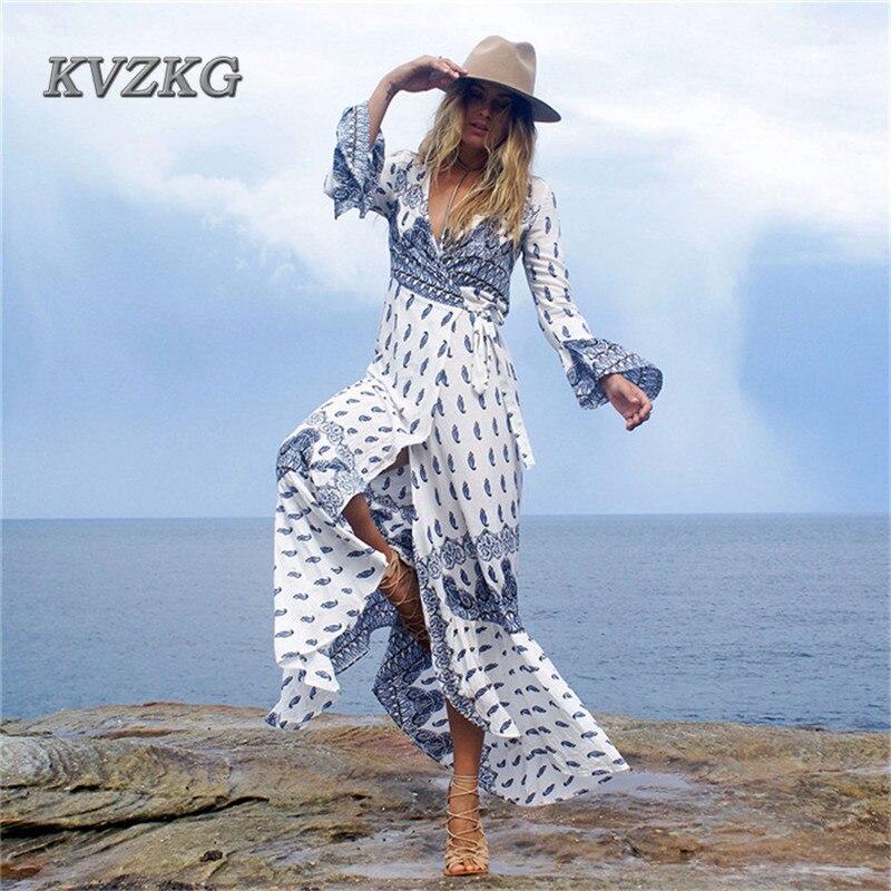 KVZKG 2017 Summer Beach Woman Maxi Dress Flower Print Long Sleeve Dresses Deep V Neck Sexy