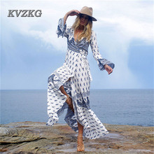 KVZKG 2017 Summer Beach Woman Maxi Dress Flower Print Long Sleeve Dresses Deep V Neck Sexy Slit Long Dress