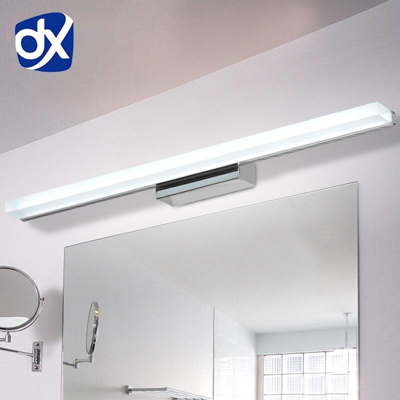 DX Longer LED Mirror Light 0.4M~1.5M AC90-260V Modern Cosmetic Acrylic Wall lamp Bathroom Lighting Waterproof Free Shipping