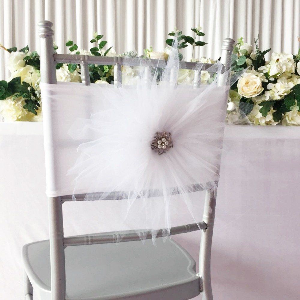 New Arrival 100PCS white Big Tutue Flower Chair Band For Hotel Chair Decoration Use Wedding Chair Sashes 1