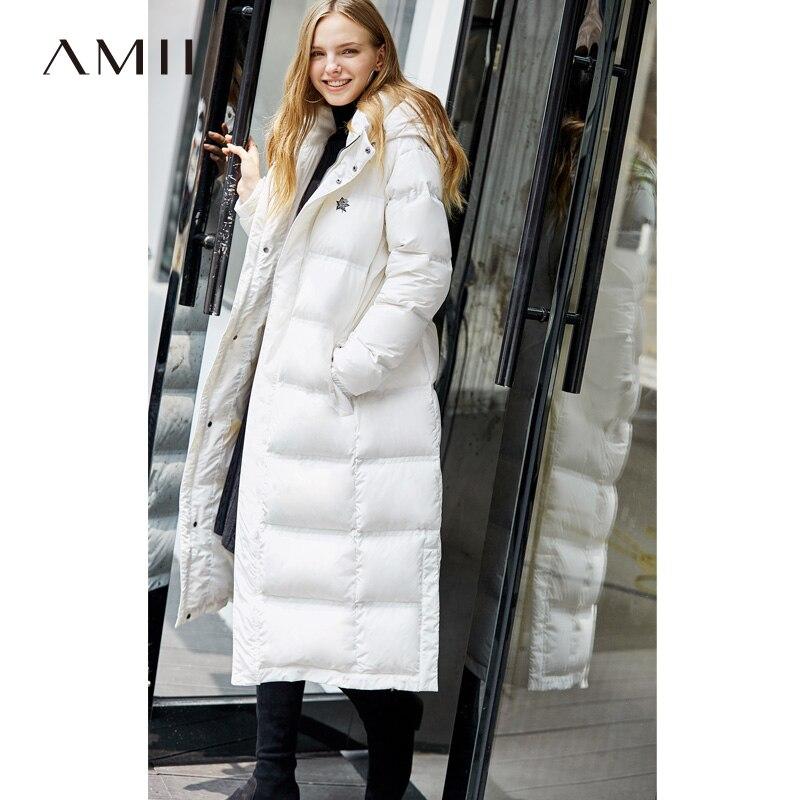 Amii Minimaliste Mode 90% Blanc Duvet de Canard Veste D'hiver Femmes Broderie Florale 2018 Casual Nouveau Loosehooded Noir Long Manteau