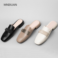 MNIXUAN Classics mature women pumps mules shoes 2019 spring new square toe genuine leather slip on block low heels casual shoes