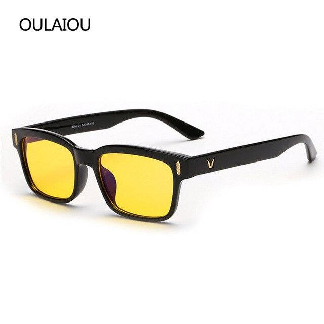 2016 new v logo yellow lenses anti blue eyeglasses frames men women computer eye glasses - Yellow Eyeglass Frames