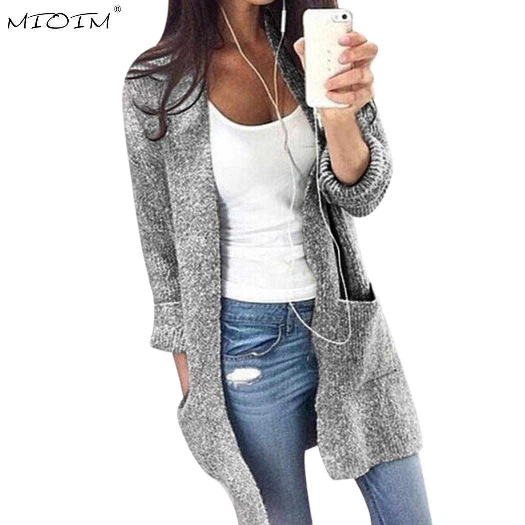 MIOIM Autumn Winter Sweater Women Long Sleeve Loose Knitting Cardigan Sweater Womens Poc ...