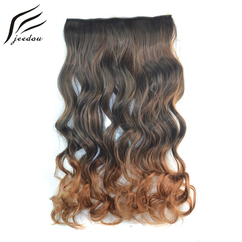 "One Piece 5Clips jeedou Wavy Synthetic Hair Clip in Hair Extensions 24"" 60cm 120g Brown Ombre Piano Color Women's Hairpieces"