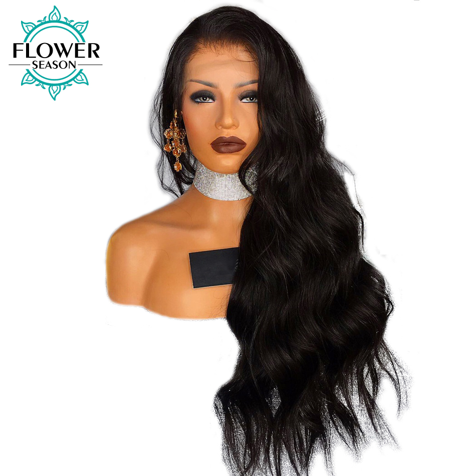 FlowerSeason 13x6 Deep Part Body Wave Lace Front Wig Peruvian Remy Human Hair With Baby Hair Pre Placked and Bleached Knots