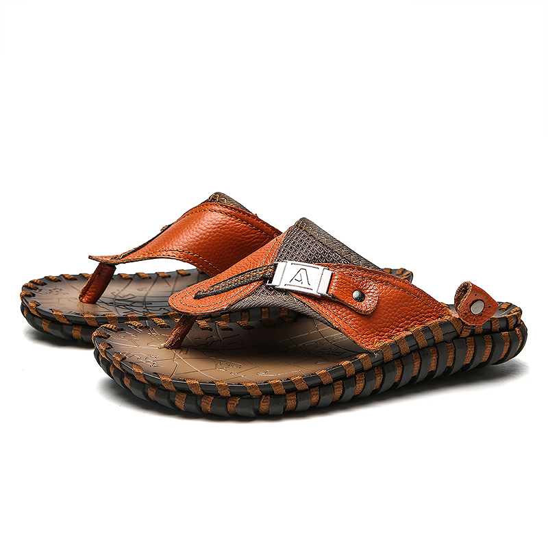 Valstone Luxury Brand Genuine leather flip flops Men Summer Real - Men's Shoes - Photo 4