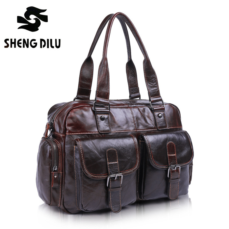 2016 Vintage First Layer Cowhide Business Shoulder Genuine Leather Bag Men Messenger Bags Handbag Bag Men's Travel Bags Bolsos