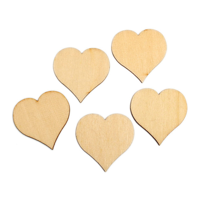50pcs Natural Heart Wood Craft Embellishments MDF Wooden Cutout Flatback  Scrapbooking for Cardmaking DIY Wedding Decoration 6c02af5f303d