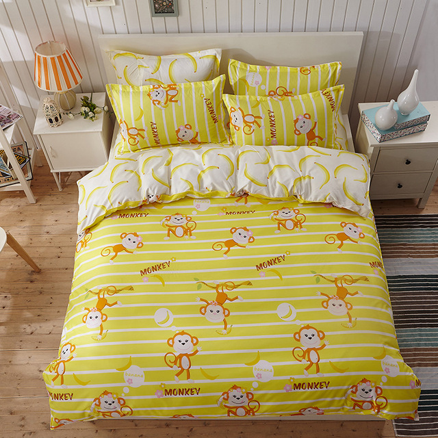 Monkey Cartoon Poly Yellow Bed Sheets King Quilted Duvet Cover Sets Queen Twin Size Quilt Cheap Bed Linen Dorm Room Comforters