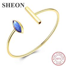SHEON Genuine 925 Sterling Silver Noble Blue Crytal Women Open Cuff Bangle & Bracelet Luxury Sterling Silver Jewelry Gift