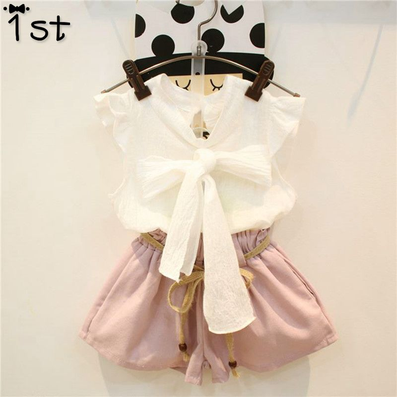1st summer new children's clothing set white top + half pants baby girl's clothes sets bow tie with sleeveless shirt + shorts white casual sleeveless hooded top