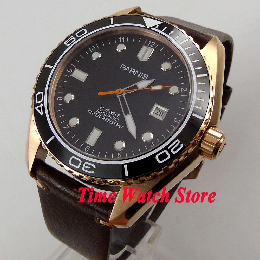 Parnis 45mm black dial Sapphire Glass Ceramic Bezel gold case MIYOTA Automatic movement Men's watch 822 цена и фото