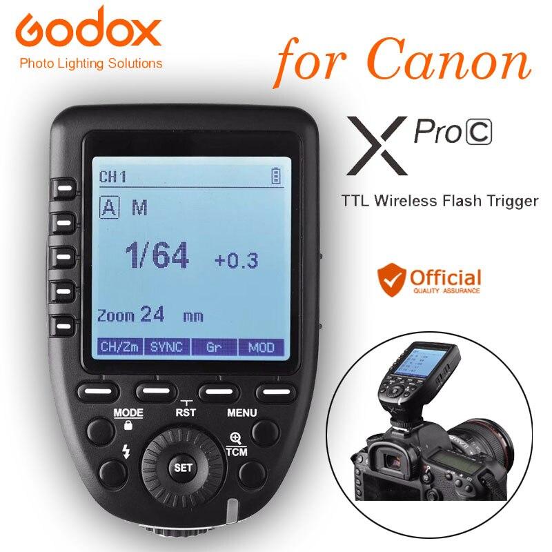 Godox xpro-c Flash déclencheur transmetteur E-TTL II 2.4G sans fil X système HSS pour Canon eos 760D 7D 6D 80D 70D 60D 50D Mark III M5