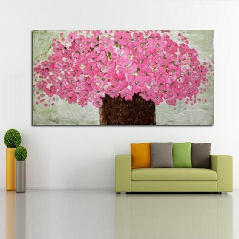 Large modern handpainted abstract knife pink flowers oil painting large modern handpainted abstract knife pink flowers oil painting handmade floral paintings on canvas wall decor art pictures in painting calligraphy from mightylinksfo