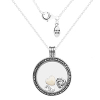 CKK 100% 925 Sterling Silver Jewelry Large Floating Locket Silver Pendant and Necklace with Three Inner Infinite Love Parts