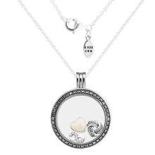 Большой fandola плавающей медальон серебряный кулон и ожерелье, Ясно CZ с внутренним бесконечной любви части 925 стерлингового-серебро-ювелирные изделия