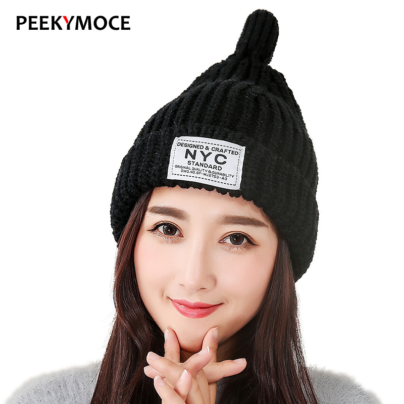Winter Hats For Women Skullies Beanies Fashion Warm Cap Girl Elasticity Knit Beanie Hats Beanie Stocking 2017 new  female hat leather skullies cap hats 5pcs lot 2278