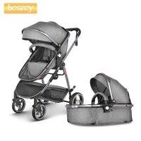 Besrey 2 в 1 Детские коляска прогулочная Роскошные коляски для новорожденных Складная коляска малыша коляска младенческой багги