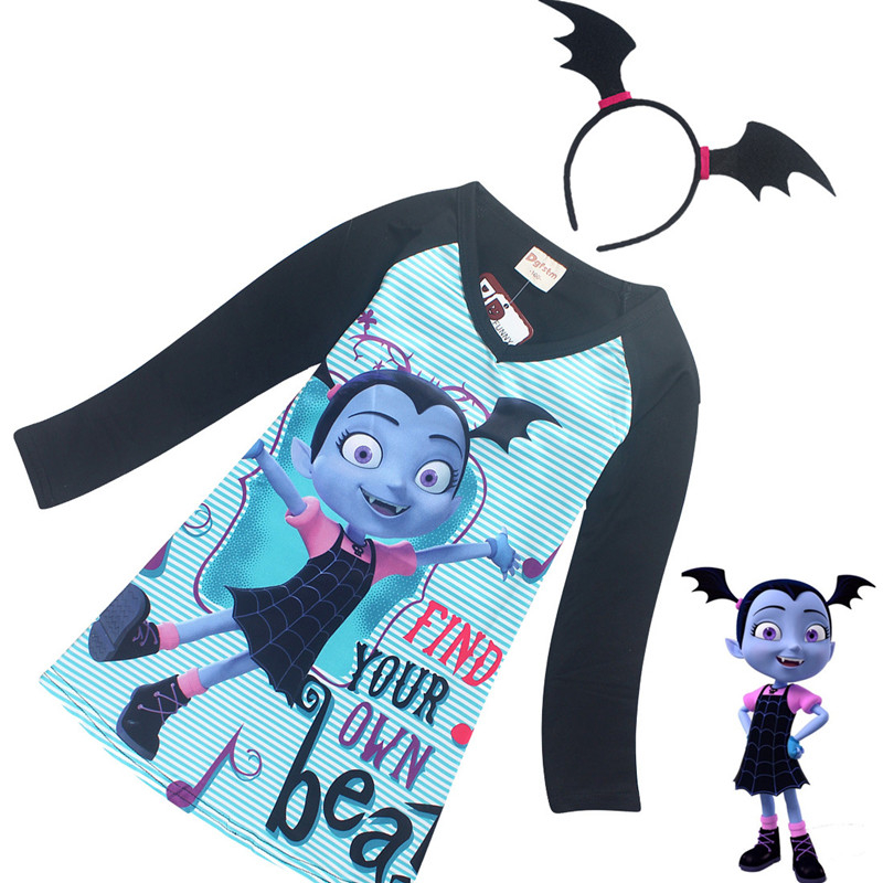 vampirina Dress+headwear superman spiderman kids superhero party Cosplay girls costume 2-10Y Get a free headdress