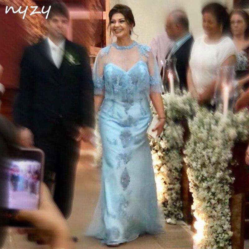 NYZY M58 longues robes de mère de mariée avec Cape manteau veste boléro 2 pièce 2019 robes de soirée de mariage robe formelle