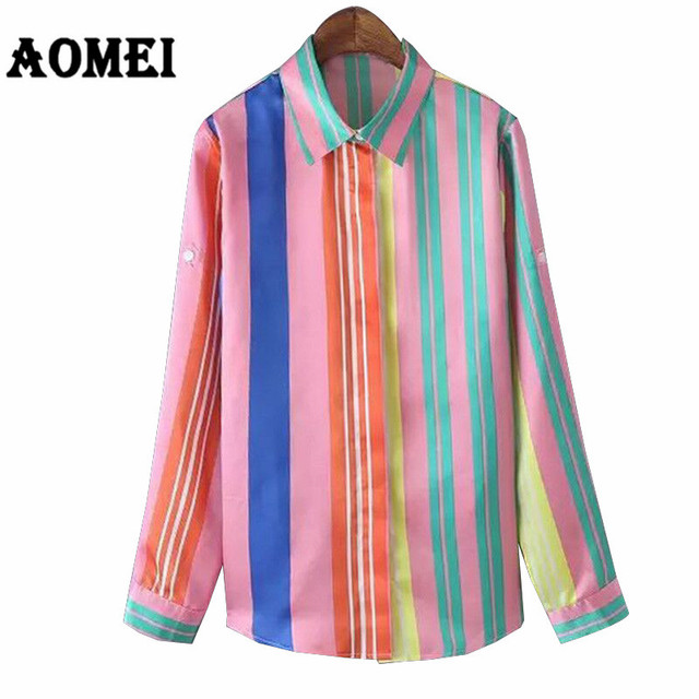 4bd6611bc Women Shirt Printed Striped Colorful Casual Fashion Blouse with Button New  Chic Spring Full Sleeve Blouses Tops Blusa Female