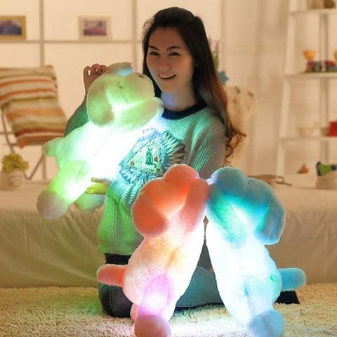 50 cm 7 mudanca da cor luz conduzida da noite brinquedo de pelucia travesseiro luminosa