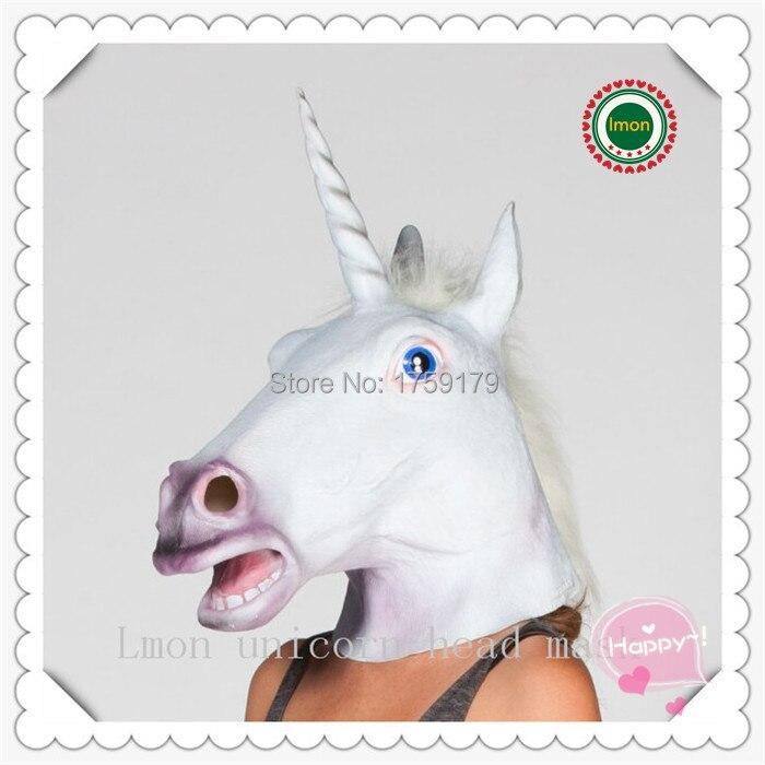 ộ_ộ ༽Envío libre Creepy caballo unicornio máscara de cabeza de ...