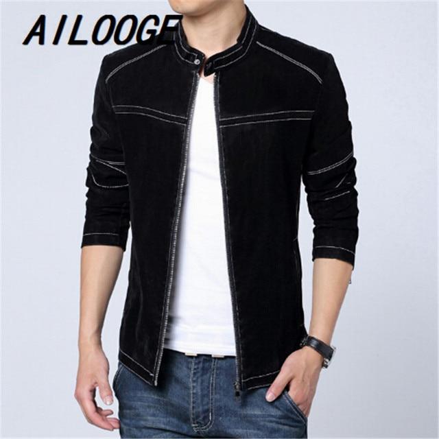 2015 M-6XL Fashion Men Leather Jacket Spring Autumn Matte Slim Fit Men's Washed Coats Brand Design Striped Jacket Plus Size
