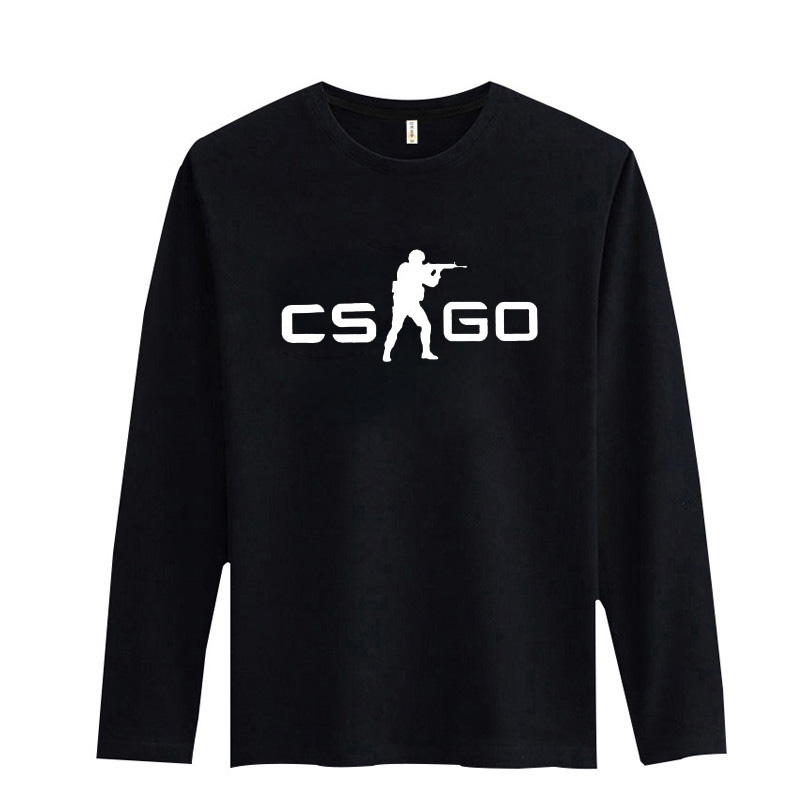 HOT SALE CS GO CT T Shirt Cartoon Casual T-Shirt Men Long Sleeve T Shirt Men Luxury Brand in Black/White CS:GO Cotton Tee shirt