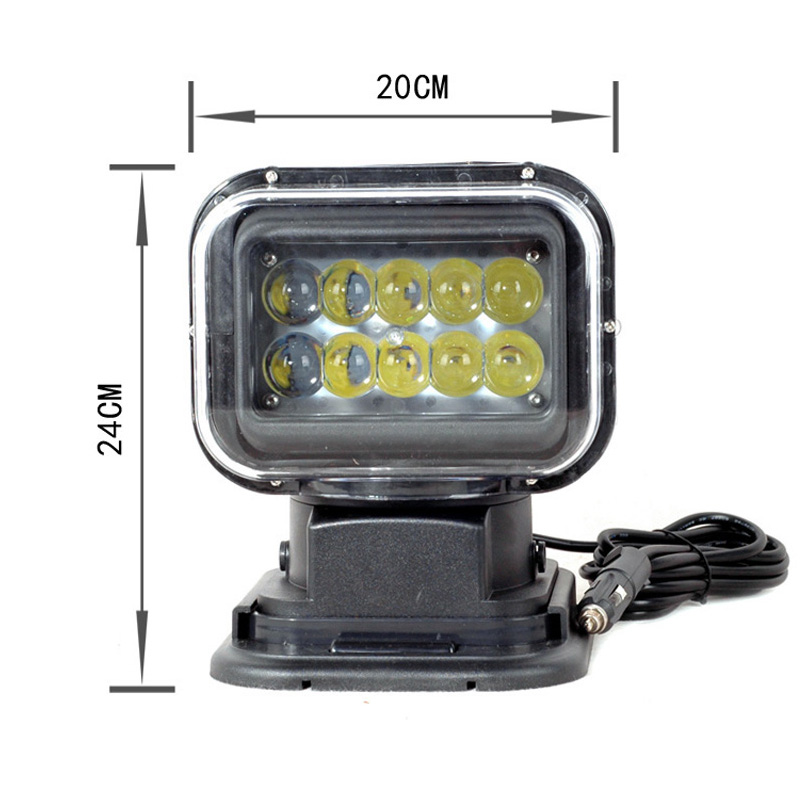 FLYCAR 12V 24V Rotating Remote Control LED Search Light Emergency Construction Working Lamp for Boat Off road Car SUV ATV Boats-in Light Bar/Work Light from Automobiles & Motorcycles    2