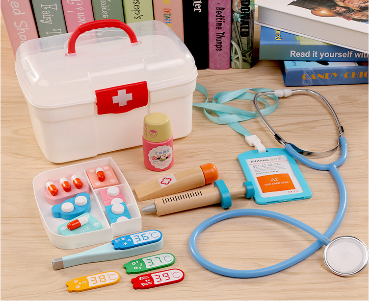 Jouets en bois de docteur mini jouets de jeu de semblant pour des jouets d'amusement de bureau d'intérieur d'enfants